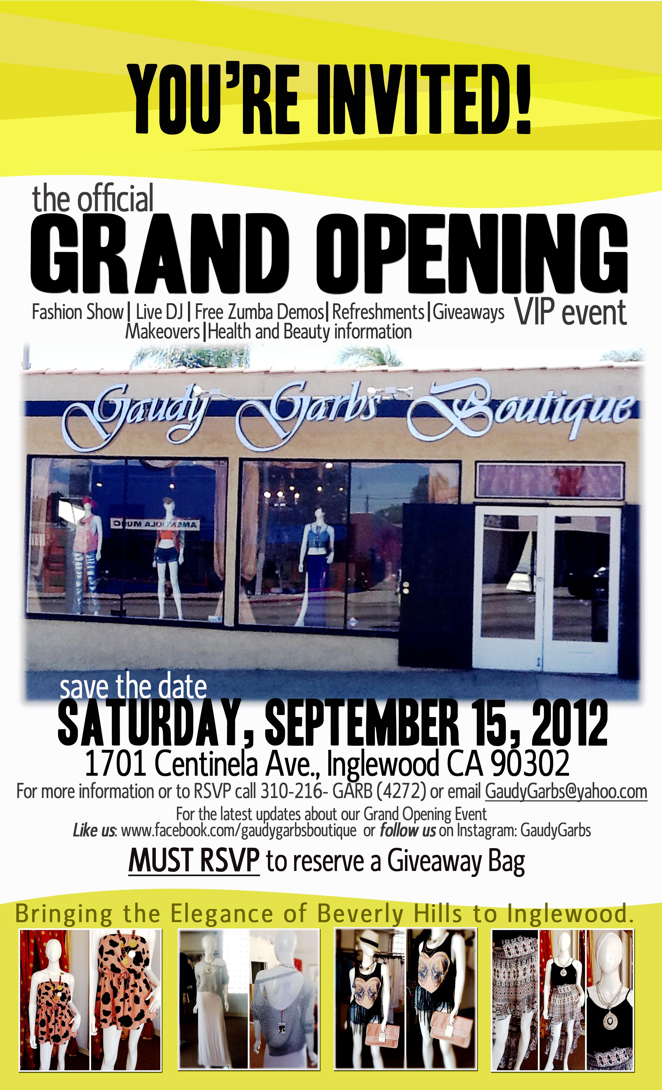 Official Invitation to the Gaudy Garbs Grand Re-Opening designed by Events in the City